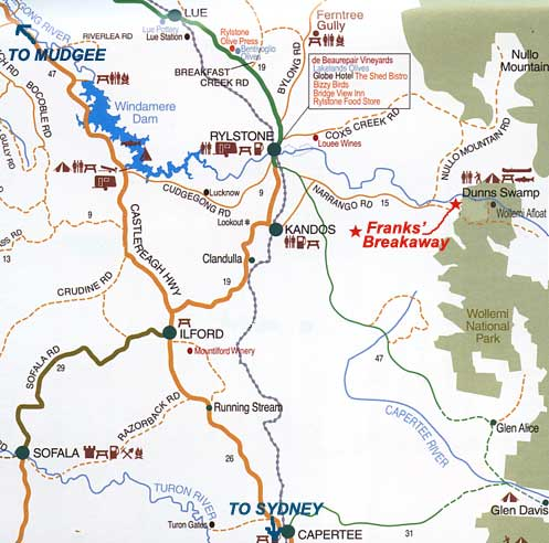 Map of the Mudgee-Ryklstone region - how to get to Franks Breakaway Farmstay accommodation